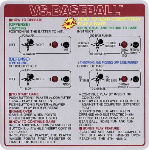 Nintendo VS Baseball instruction card.