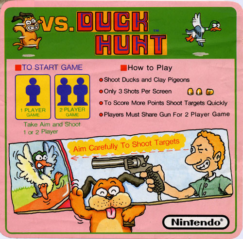 Nintendo VS Duck Hunt instruction card.