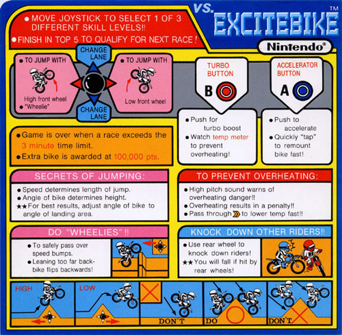 Nintendo VS Excitebike instruction card.