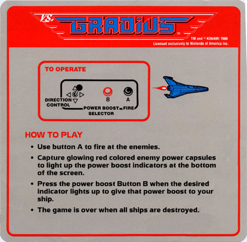 Nintendo VS Gradius instruction card.