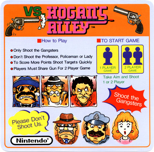 Nintendo VS Hogan's Alley instruction card.