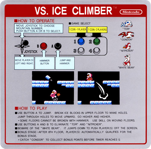 Nintendo VS Ice Climber instruction card.
