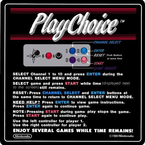Nintendo Playchoice instruction card.
