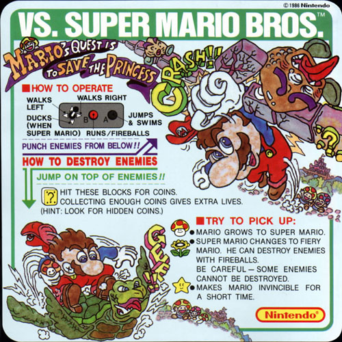 Nintendo VS Super Mario Bros instruction card.