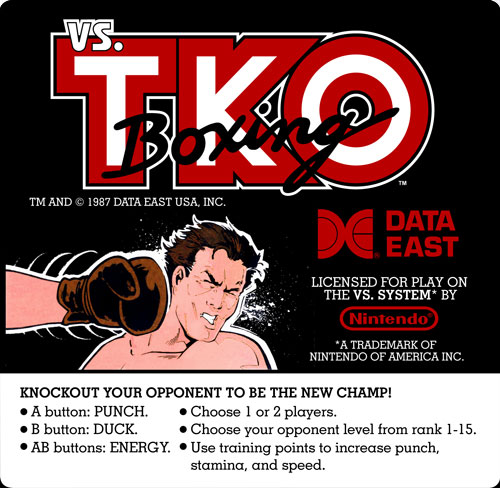 Nintendo VS TKO Boxing instruction card.