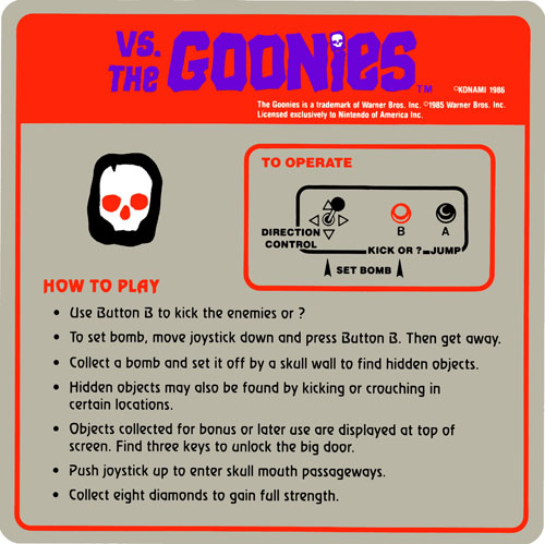 Nintendo VS the Goonies instruction card.