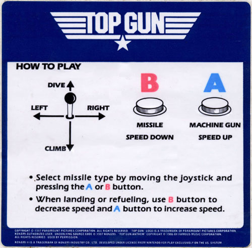 Nintendo VS Top Gun instruction card.